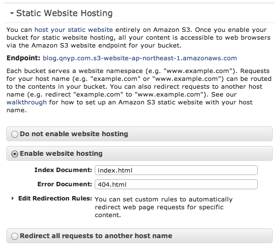 S3 Static Website Hosting設定